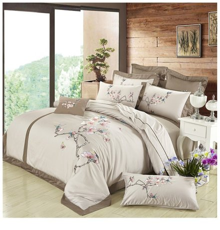 Egyptian cotton bed set, two-color, with embroidery, different designs