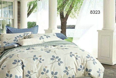 "Cotton satin 200TC double-sided bedroom colourfull set ""Blue forest"""