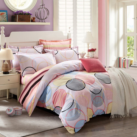 "Cotton satin 200TC double-sided bedroom colourfull set ""Joy circles"""