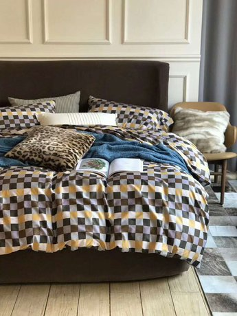 "Bedding set for luxury bedroom, made of 300TC satin cotton fabric ""Earth chessboard"""