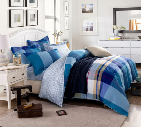 "Double-sided bedding set made of cotton satin 230TC ""Shick in blue"""