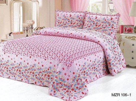 Eco bed cover blanket (with pillow covers) for girls, 230х250cm, Garden in colour