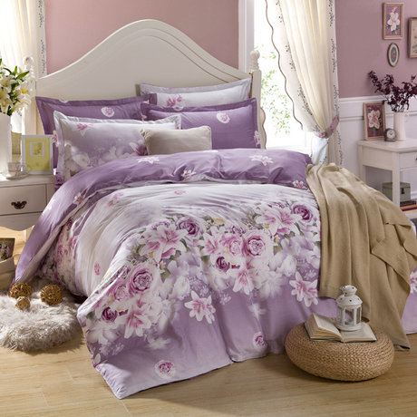 "Cotton satin 200TC double-sided bedding colourfull set ""In breath of violets"""