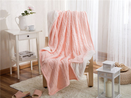 Candy blanket for a girl, size 120x180 cm, feathery on one side