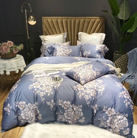 "Bedding set for luxury bedroom, made of 600TC egyptian cotton ""Flowers in mist"""