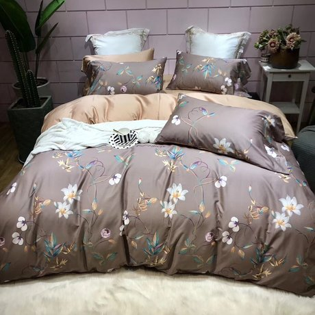 "Bedding set for luxury bedroom, made of 300TC satin cotton fabric ""Lux in carre""Bedding set for luxury bedroom, made of 300TC satin cotton fabric ""Chocolate garden"""
