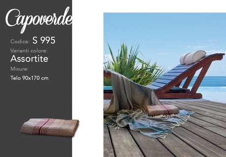 Design from Italy - 70x170cm beach rug-scarf, 100% cotton, Capo Verde model