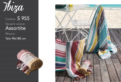 Cheerful, bright fringed rugs for the beach, 90x180cm, 100% cotton, Ibiza model