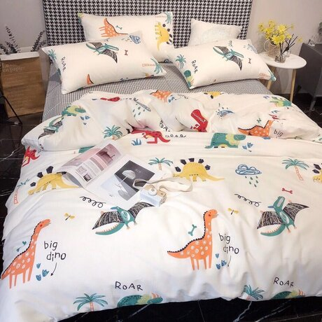 "Cotton satin 200TC double-sided bedding colourfull set ""Dinosaurs"""