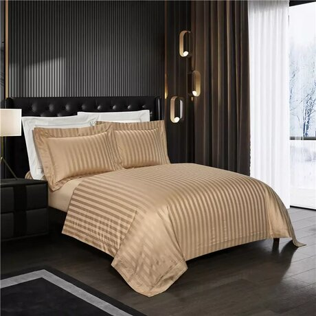 Egyptian cotton bed linen, striped, with a density of 1200TC, one color, with a luxurious glossy finish, in different colors