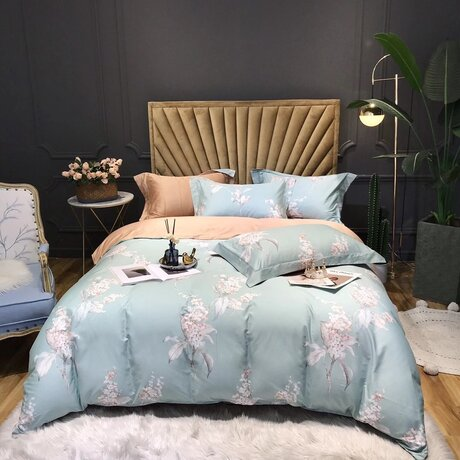 "Bedding set for luxury bedroom, made of 300TC satin cotton fabric ""Twings in bloom"" in mint colour and beige"