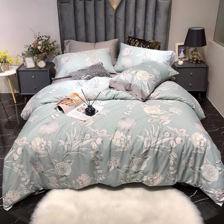 "Bedding set for luxury bedroom, made of 300TC satin cotton fabric ""Stylish garden"" in mint and grey"