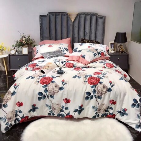 "Bedding set for luxury bedroom, made of 300TC satin cotton fabric ""Painting of roses"""