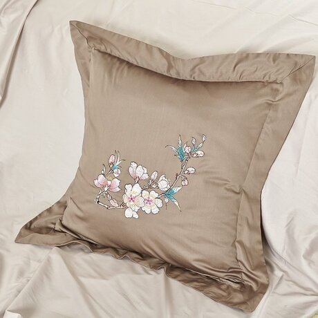 Pillow cases 68x68cm, made of Egyptian cotton, with embroidery, in rose ash color
