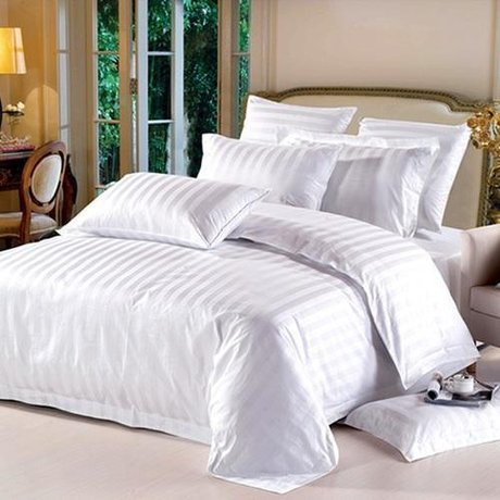 White striped bed set, made of 236TC cotton, laser wooven