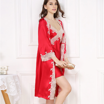 Luxury and sexy set of natural silk - nightgown and bathrobe