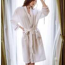 Luxury cotton waffle bathrobe, white, with blue edge line, for spa centers